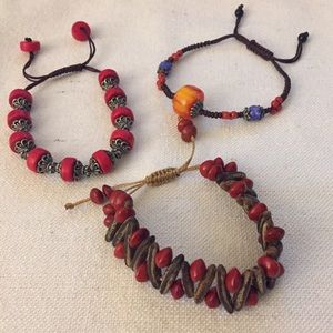 String Bracelets With Red Beads Set of Three